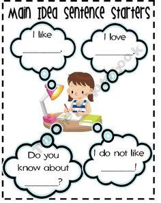 Main Idea SentenceStarters