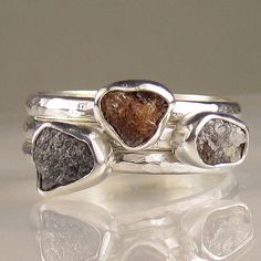 Stacking Rings | Jill of Artifactum Designs. Natural rough diamonds and sterling silver.