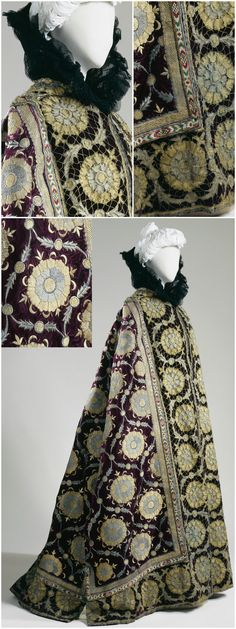 """Russian Cape"" altered by Jean-Philippe Worth for Comtesse Greffulhe, c. 1896, Palais Galliera (via Petit Palais). The comtesse was given the ceremonial cloak by Tsar Nicholas II on a visit to France in 1896. She chose to wear it as an evening cape, causing great excitement when she arrived at a gala sporting the creation, according to the newspaper Le Figaro, dated April 15, 1904 (source: WWD Blog). CLICK THROUGH FOR VERY LARGE, HI-RES IMAGES."