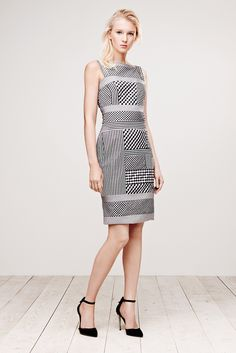 Tadashi Shoji | Resort 2015 | 06 Monochrome checkered sleeveless midi dress