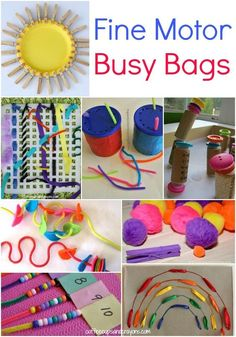 Fine Motor Busy Bags for Kids! For related pins and resources follow https://www.pinterest.com/angelajuvic/autism-special-needs/