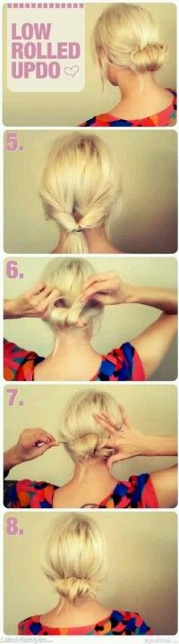 How to make Low rolled updo hairstyle
