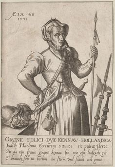 1573 Omine Folici DVX Kennav Hollandica Judith Harlemo. Woman holding spear in left hand; heads with helmets on table. Copyright - Anne S.K. Brown Military Collection at Brown University.