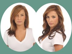 before after hair styles with clip in extensions