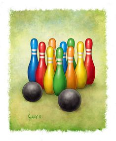 A Vintage Skittles or Bowling Game coloured Skittles Game, Bowling, Vintage Toys, Card Games, Give It To Me, Illustrations, Projects, Cards, Painting