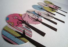 Arbolitos ideales para decorar un regalo o una composición scrap de cualquier tipo.