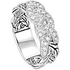 John Hardy Classic Chain Pave Diamond Braided Band Ring (1 295 AUD) found on Polyvore featuring women's fashion, jewelry, rings, silver, 18k ring, chains jewelry, braided band ring, pave band ring and handcrafted rings