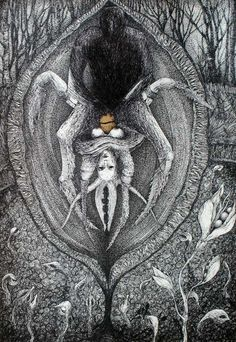 "Saatchi Online Artist: Marzena Ablewska- Lech; Pen and Ink, Drawing ""Pearl diver"""