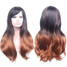 """AneShe 27.5"""" Women's Long Curly Hair Harajuku Style Heat Resistant Hair Wigs for Cosplay/Party (Brown+Black)"""