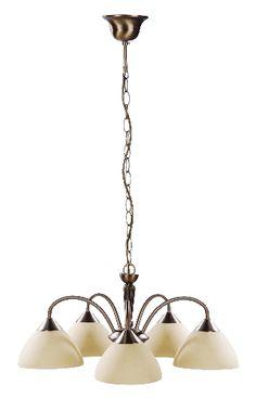 Regina - luster rustikálny bronzovo-krémový - päťramenný