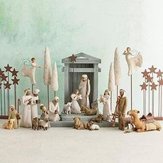 As enduring as the story it portrays, this complete Willow Tree nativity scene beautifully represents the awe and wonder of the Christmas Story. Willow Tree Nativity Set, Willow Tree Figurines, Christmas Nativity Scene, A Christmas Story, Christmas Art, Christmas Lights, Christmas Decorations, Christmas Ideas, Nativity Sets