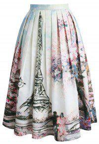 Love in Paris Printed Midi Skirt