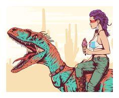 Dino 03. - One Horse Town Illustration Studio