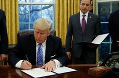 President Trump signs order pulling US out of TPP pact.  1/23/17