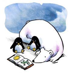Polar Bear Reading A Book Polar To The Penguins