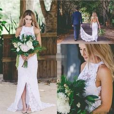 [Click image to buy!] Sexy Bohemian Lace Backless Wedding Dress High Neck Spring Summer Front Split 2017 Garden Beach Simple Bridal Wedding Gowns * Shop 4 Xmas n 2018. Locate this beautiful piece simply by clicking the VISIT button. #Jeweleryset