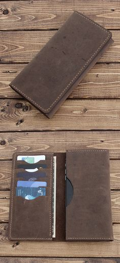 Hand Stitched Sleeve Wallet for iPhone / Galaxy / Nexus / Pixel / Oppo / HTC / Lenovo / Xperia / MotoZ / OnePlus in Rustic Distressed BROWN Leather Personalize for FREE