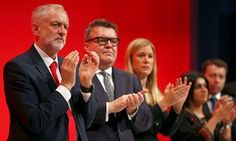 Jeremy Corbyn with Tom Watson, among others, at the Labour party conference in Liverpool.