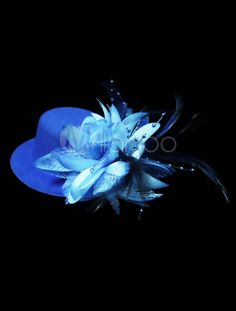Blue Feather Polyester Glamour Wedding Hat - Milanoo.com