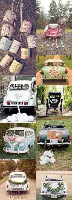 vintage wedding getaway car decor / http://www.himisspuff.com/ways-to-decorate-your-wedding-getaway-car/