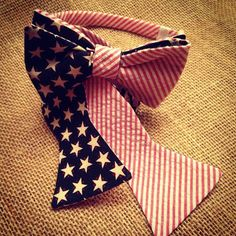"""A patriotic match made in heaven!  The """"'Merica"""" bow tie/bow band set!  I'll pledge allegiance to THAT!  www.sweetsouthernspud.com"""