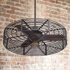 38 Vintage Breeze Bronze-Black Cage Ceiling Fan A damp-rated ceiling fan with an updated industrial cage design. From Casa Vieja comes the Vintage Breeze ceilin Caged Ceiling Fan, Black Ceiling Fan, Bronze Ceiling Fan, Metal Ceiling, Led Ceiling, Industrial Ceiling Fan, Industrial Fan, Vintage Industrial Decor, Industrial Decorating
