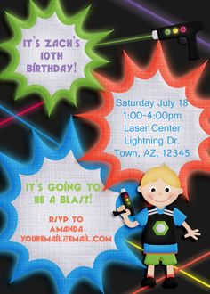 Laser Tag Birthday Invitation with customized child on the front