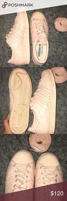 Blush pink Adidas Stan Smith nonbroken in (only worn 2 or 3 times) blush pink Adidas Stan Smith sneakers with extra never-opened laces. in great condition! adidas Shoes Sneakers