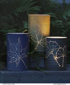 Make #fall garden lanterns from recycled tin cans - using a hammer and nails #FallDIY ~ @bystephanielynn