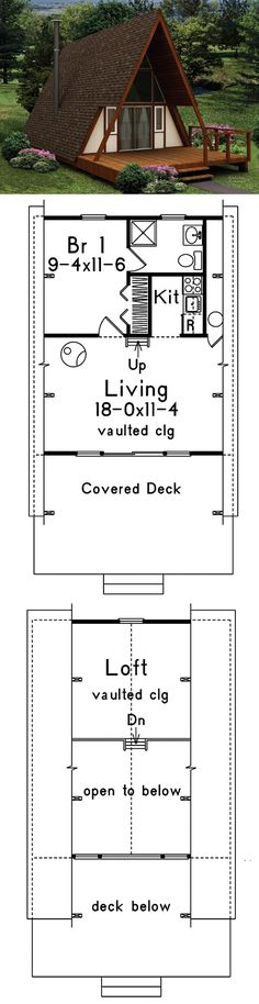 618 sq ft -- The Yakutat A-Frame Home has 1 bedroom and 1 full bath. 1st Floor-480 sf, 2nd Floor-138 sf. HOUSE PLAN 592-008D-0161