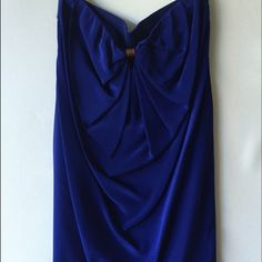 Ali Ro Strapless Silk Dress Blue Silk Dress by Ali Ro. Strapless. Drape detail in the back. Worn once, like new condition. Dry Clean Only Ali Ro Dresses Mini
