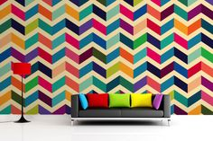 Add depth and character to your walls with this bespoke zig zag pattern wallpaper, a colourful pink & blue chevron design. Buy now with fast & FREE UK delivery! Geometric Wallpaper For Walls, Wallpaper Pink And Blue, Wall Wallpaper, Pattern Wallpaper, Zig Zag Pattern, Colour Pattern, Wall Patterns, Geometric Patterns, Cool Walls
