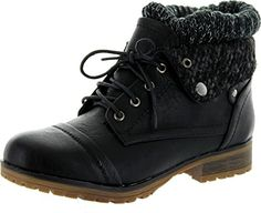 REFRESH WYNNE-01 Women's combat style lace up ankle bootie * Be sure to check out this awesome product.