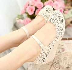 Lady Summer Soft Jelly Rubber Floral APLE Round Toe Wedge Heel Sandal Shoes
