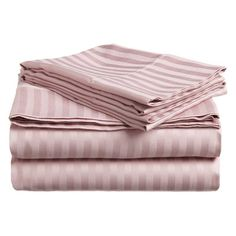 Superior 300 Thread Count Long-Staple Combed Cotton Sateen Weave Stripe Sheet Set Lavender - 300KGSH STLV