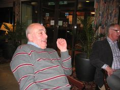 Taking coffee - John Scullion with Ray Wilkinson falling out of the picture