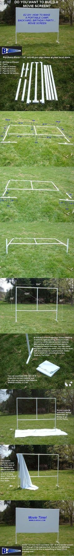 Free DIY Projection Screen Frame Instructions from www.b-Backyard Movie Theater Outdoor Movie Night. Free DIY Projection Screen Frame Instructions from www. Backyard Games, Backyard Projects, Outdoor Projects, Backyard Patio, Backyard Landscaping, Diy Projects, Backyard Ideas, Pool Ideas, Landscaping Ideas
