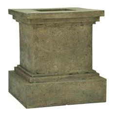MPG 16-1/2 in. Square Aged Granite Cast Stone Pedestal Planter-PF5430AG - The Home Depot
