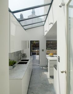 Charming Kitchen Design in Minimalist Concept: Bright Kitchen Design With Skylight Window Fentiman Road Residence ~ WBTOURISM Kitchen Inspiration