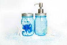 Mydło w płynie, waciki, pałeczki...mnóstwo pomysłów na łazienkę ze słoikiem firmy Ball Blue 16 oz