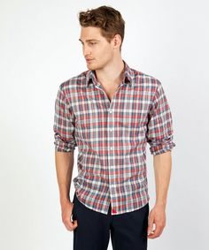 This is a great red, white, and blue summer plaid. The perfect shirt for the 4th of July! $115