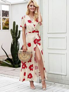 73376731fa Simplee Surplice Floral Print Tie Side Wrap Dress