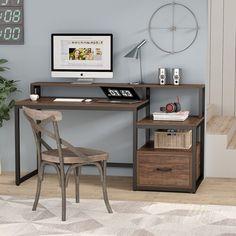 Computer Desks For Home, Home Desk, Home Office Desks, Home Office Furniture, Furniture Design, Gaming Desk, Office Workspace, Desk With File Drawer, Desk With Drawers