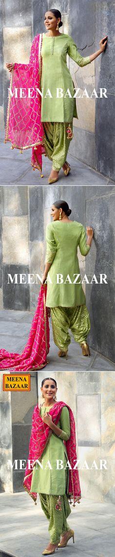 Green chanderi salwar suit