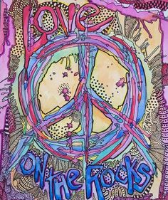 Singleton Hippie Art Peace Love on the Rocks by justgivemepeace, $90.00