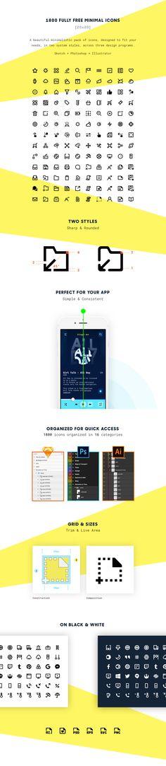 돋보이는 디자인을 위한 1800개 미니멀 아이콘 세트 무료 다운로드