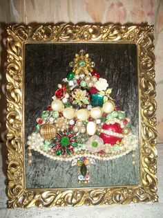 Vintage Jewelry Framed Christmas Tree