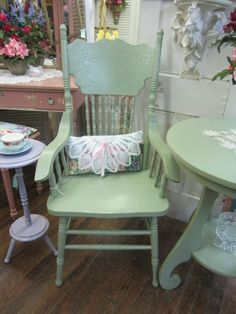 Hand Painted Pressed Back ChairWith ArmsShabby by rosesnmygarden, $168.00
