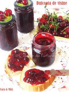 Dulceata de visine ~ Culorile din farfurie Jacque Pepin, Romanian Food, Desert Recipes, A Food, Dairy Free, Sweet Treats, Cheesecake, Gem, Cherry