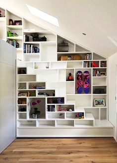 Staircase Shelving shelves and stuff. | awesome, book storage and staircases
